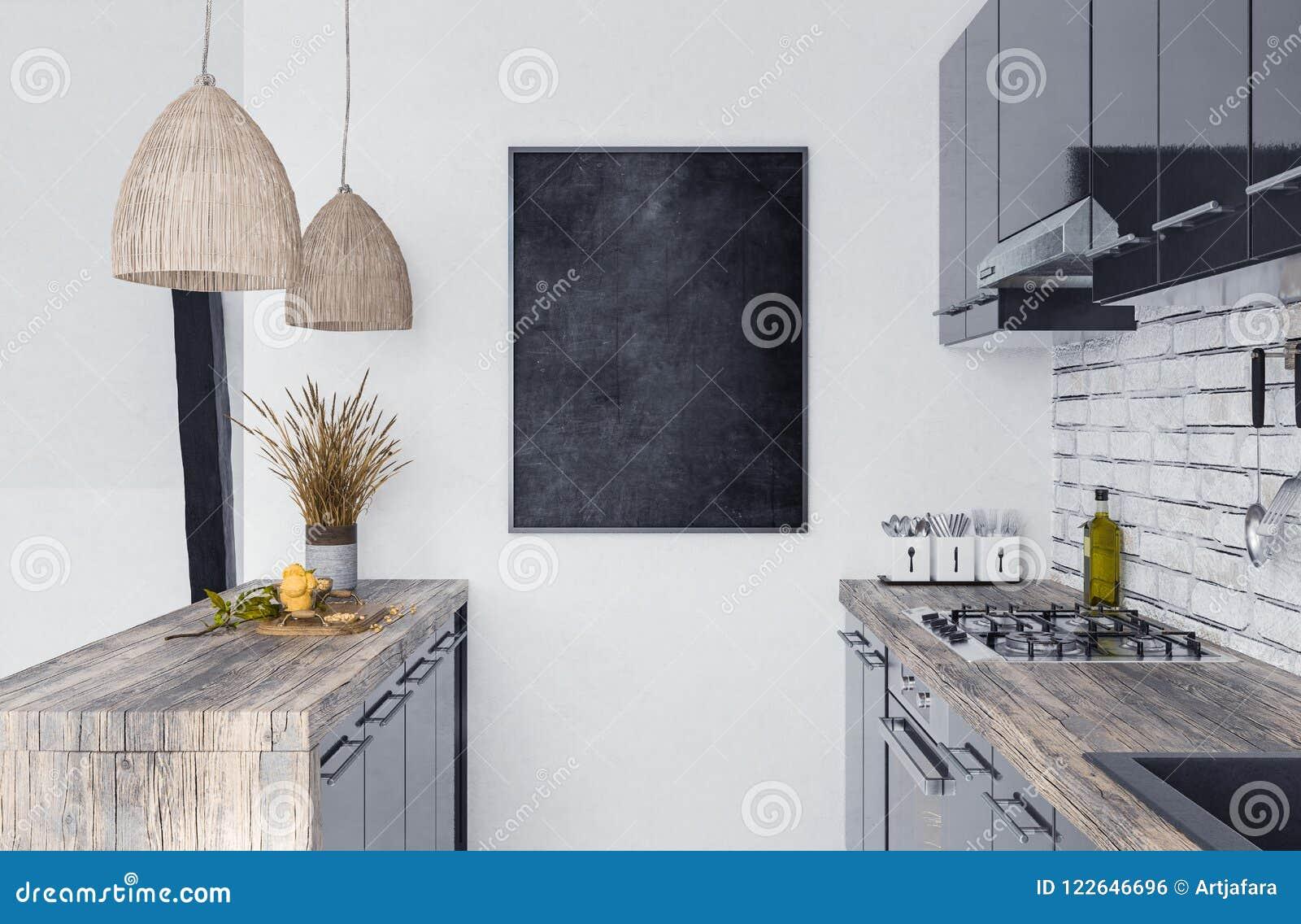 Zombe acima do quadro do cartaz no interior da cozinha, estilo de Scandi-boho
