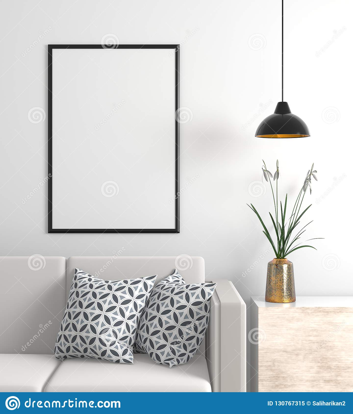 Zombe acima do quadro do cartaz no interior escandinavo do moderno do estilo 3d