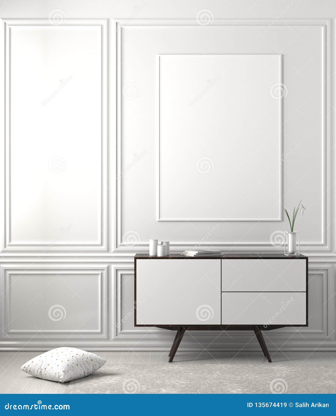 Zombe acima do quadro do cartaz no interior escandinavo do moderno do estilo ilustração 3D