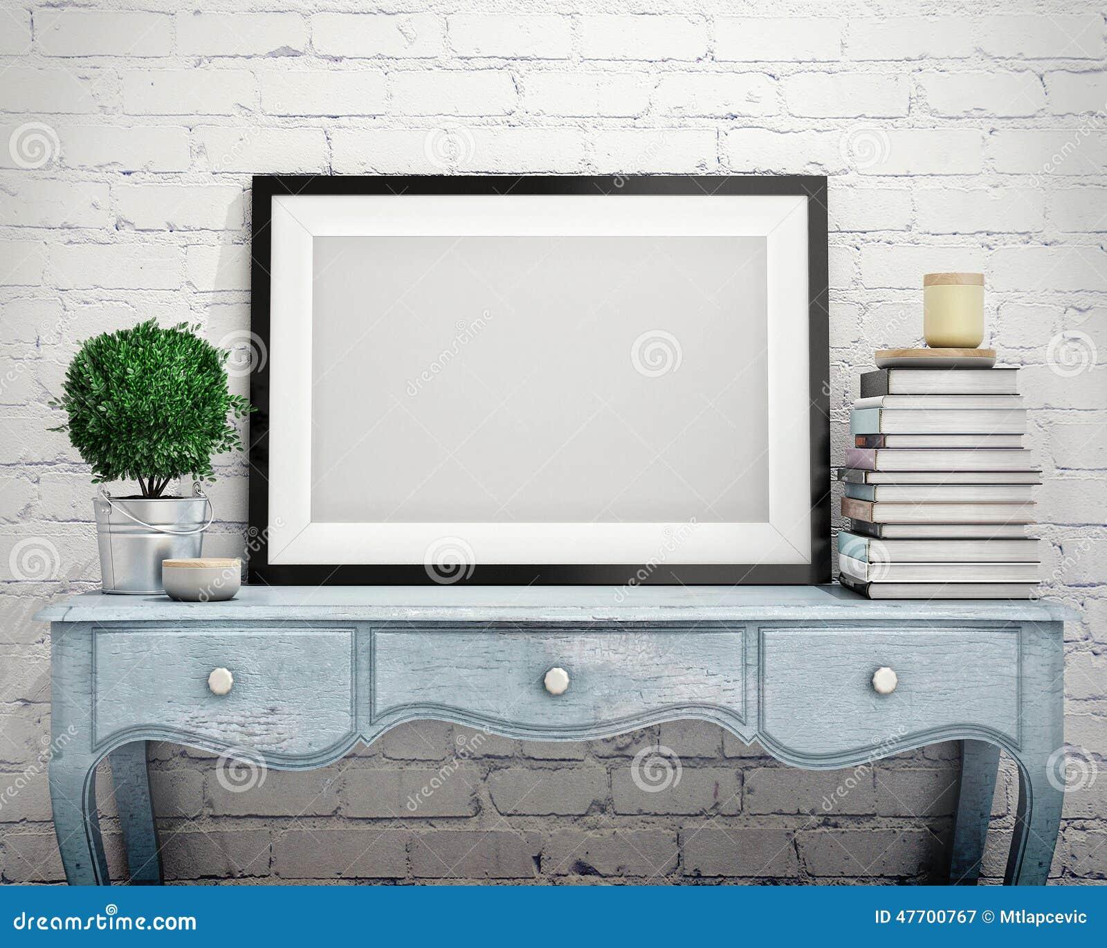 Zombe acima do quadro do cartaz na caixa do vintage de gavetas, interior