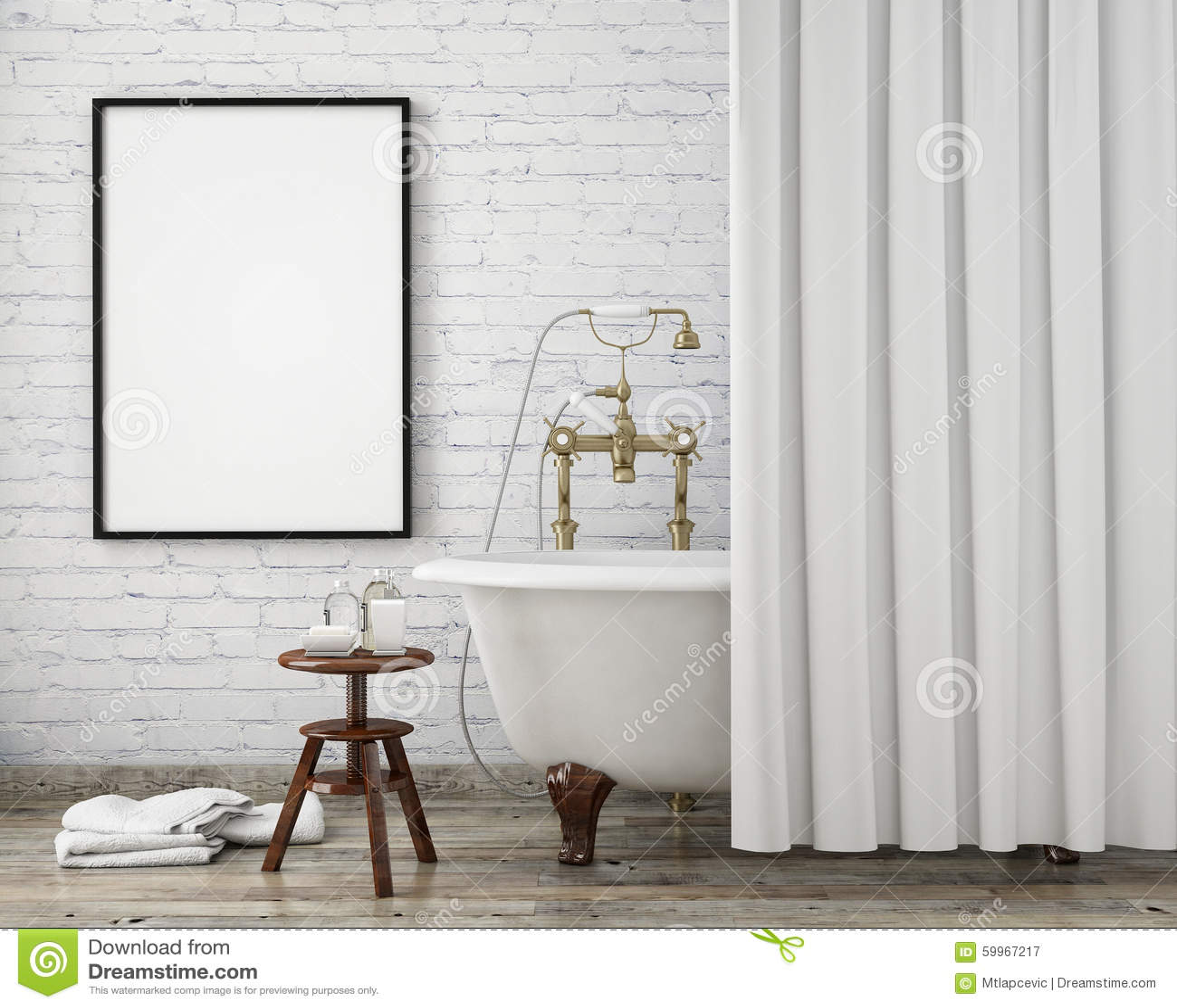 Foto de Stock: Zombe acima do quadro do cartaz no banheiro do moderno  #85A823 1300 1130