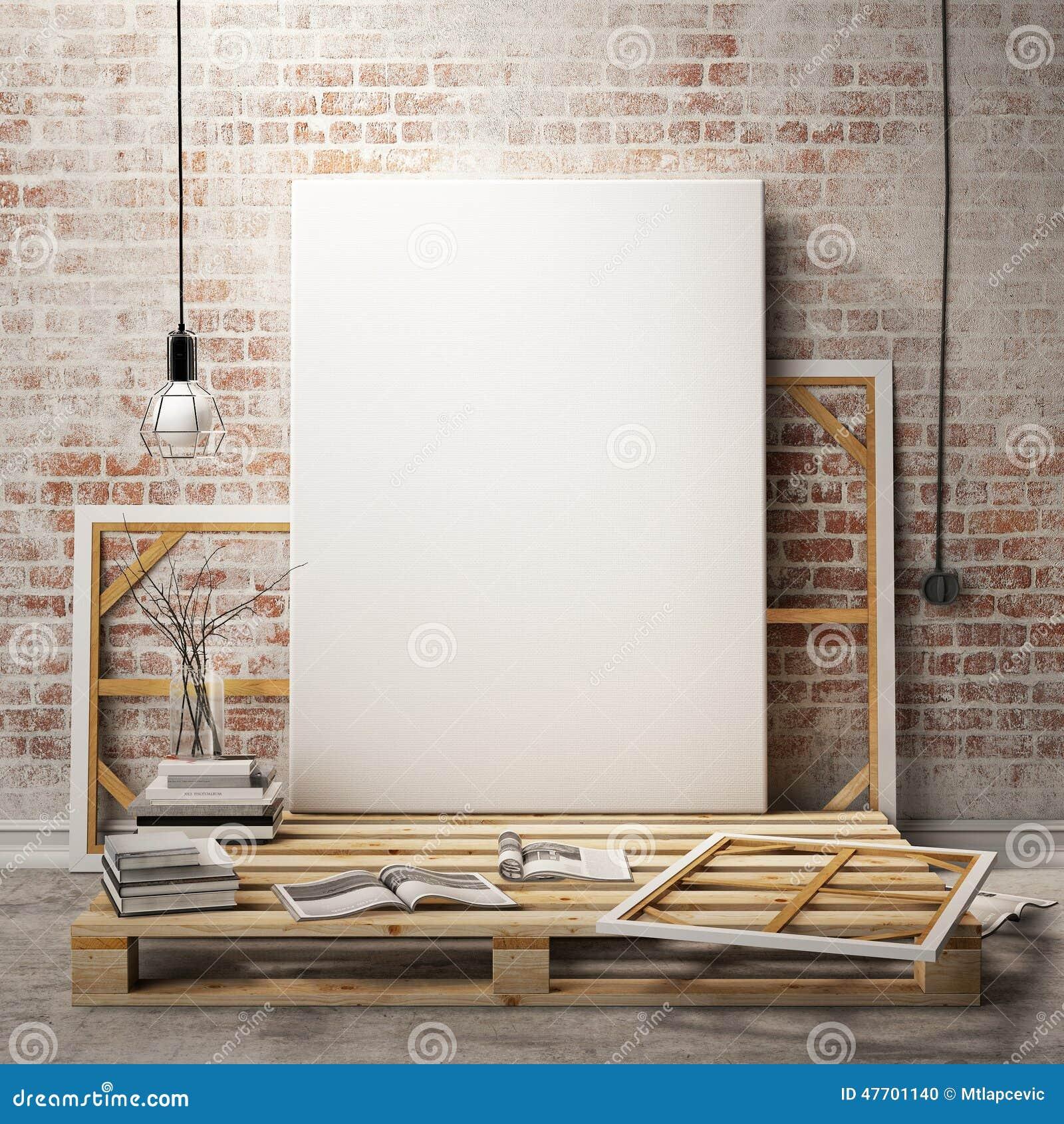 Zombe acima dos quadros e da lona dos cartazes no fundo do interior do sótão