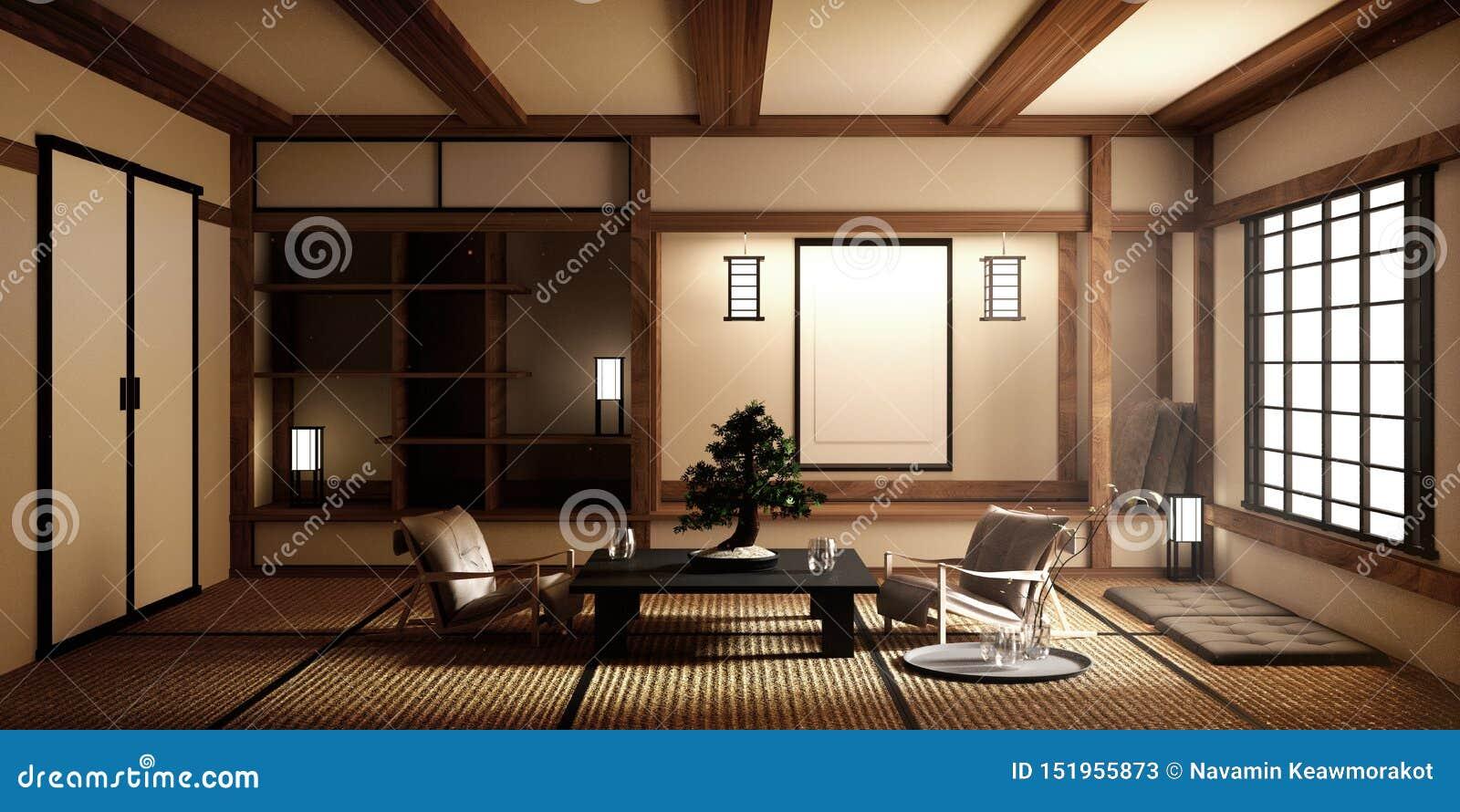 Zombe acima, esteira de tatami vazia japonesa da sala que projeta o mais bonito rendi??o 3d