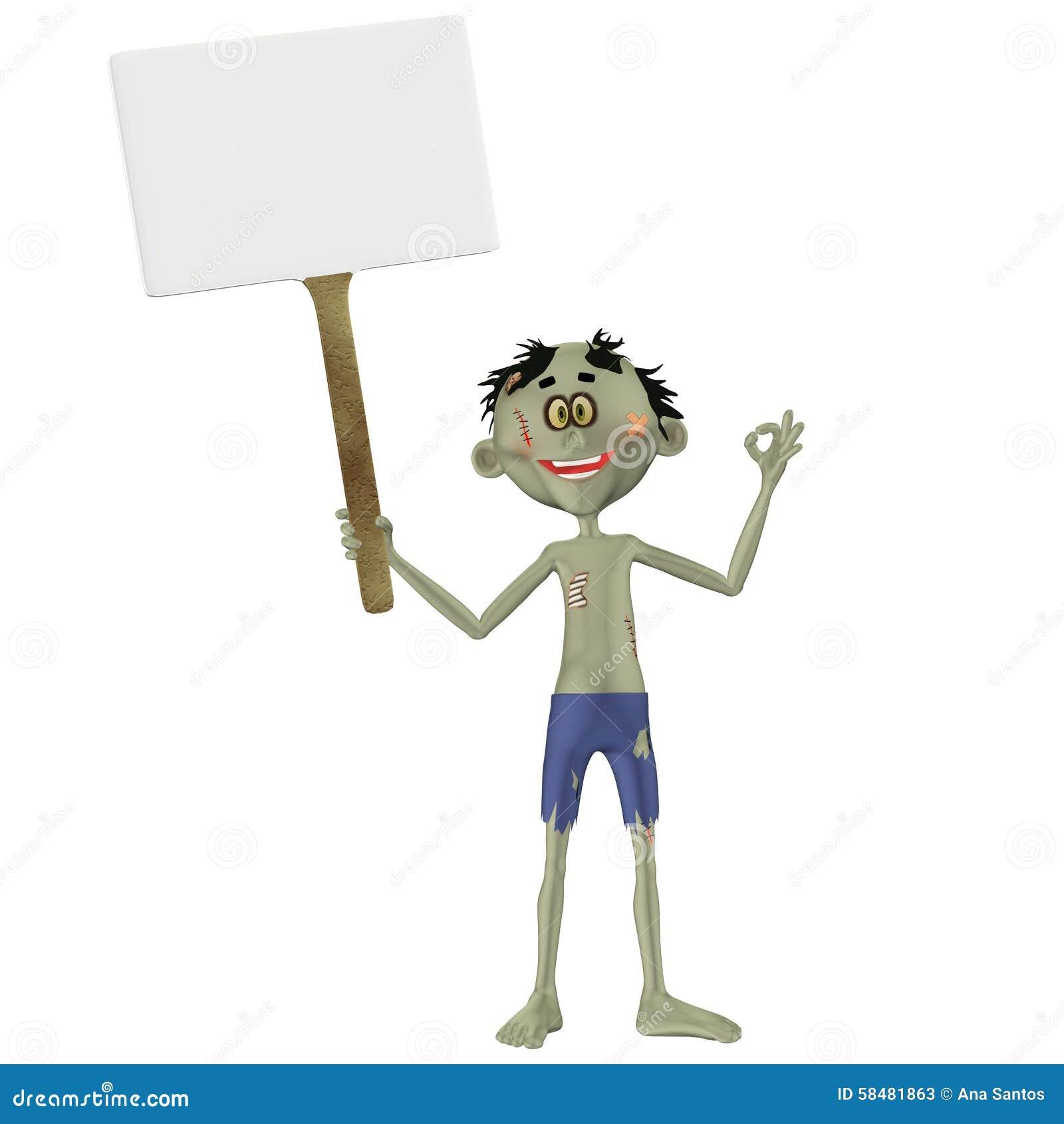 Zombi tenant un signe
