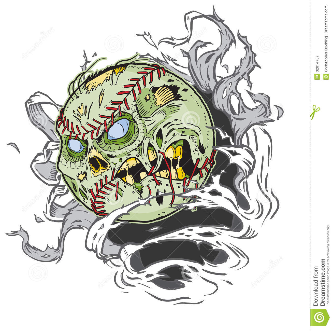 Zombie Baseball Ripping Out Background All Important Elements Separate Layers Eps File Easy on Rip Clip Art