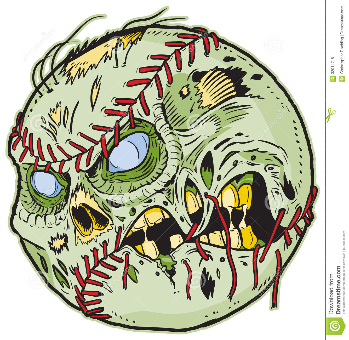 Zombie Baseball Vector Cartoon Color Elements Are In A Separate