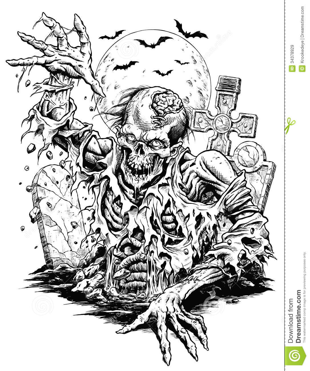 Line Art Comic : Zombie comic line art royalty free stock images image