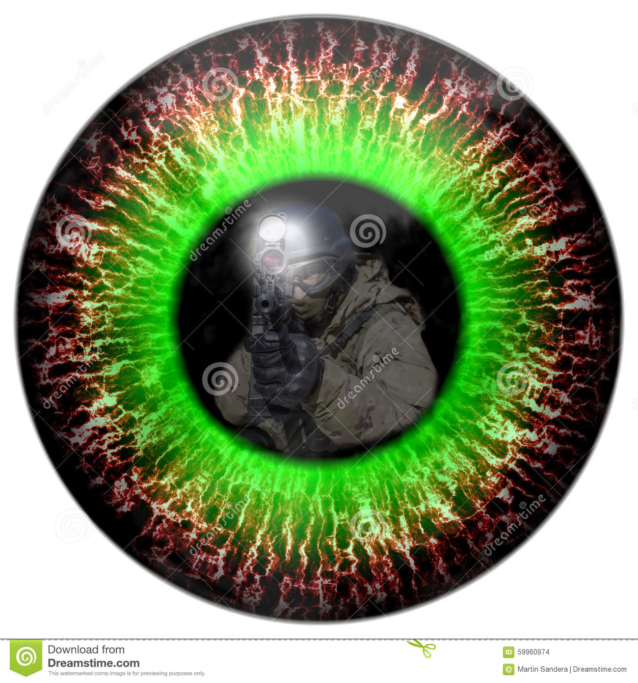 Zombie Eyes With The Reflection Headed Soldier Eyes Killer Deadly Eye Contact Stock