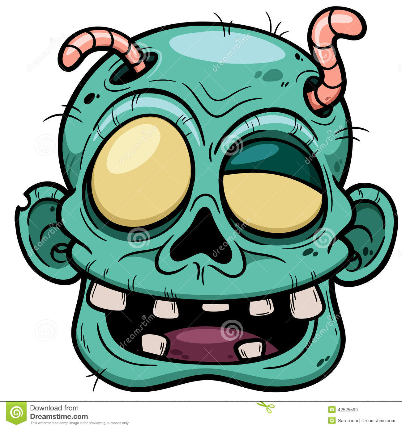 Vector illustration of Cartoon Zombie face.