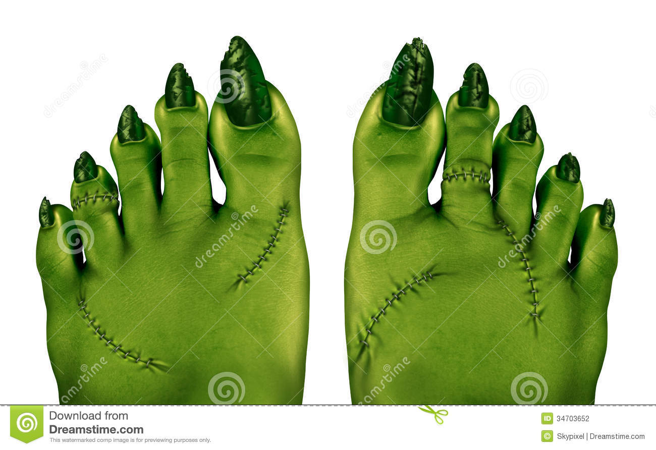 Zombie feet as a creepy halloween or scary symbol with textured green ...