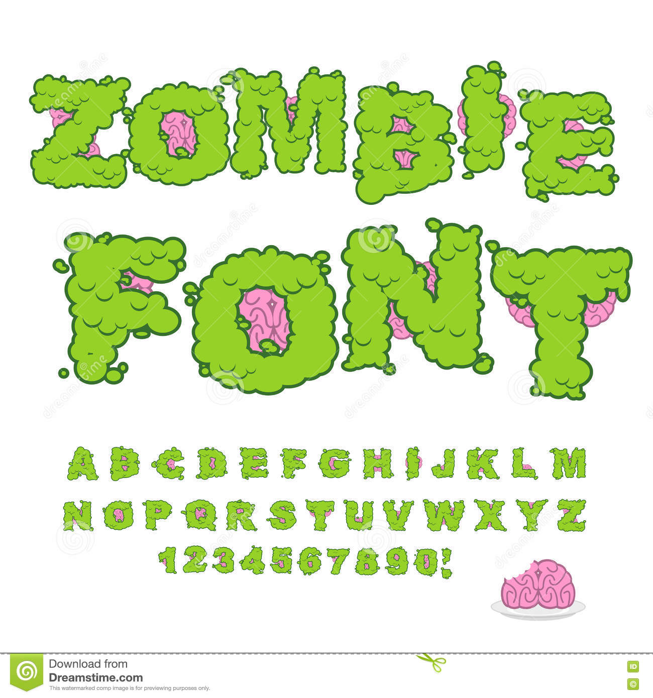 Zombie Font. Scary Green Letters And Brain. Horrible Halloween A ...