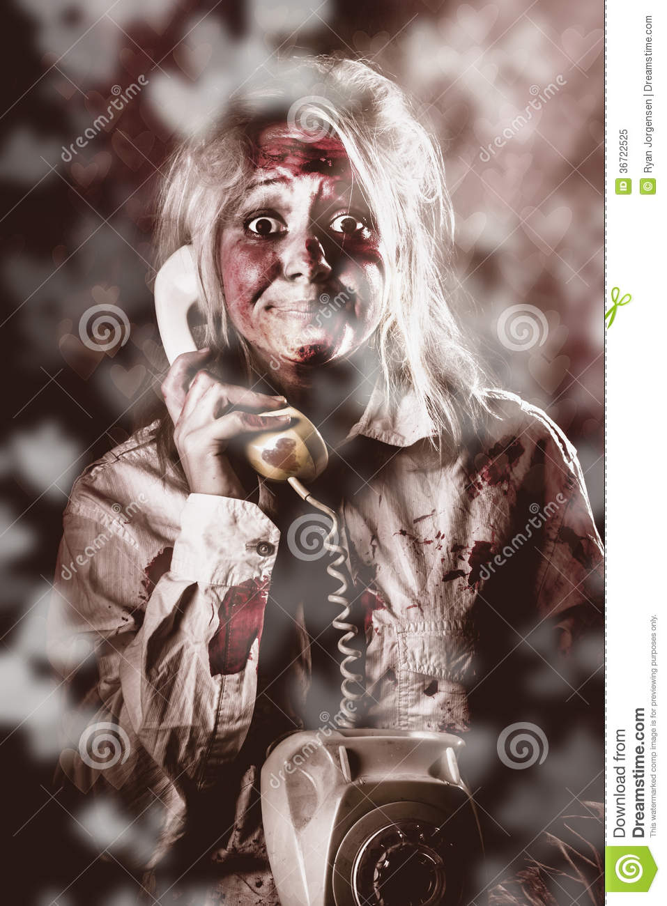 Zombie Girl Making Phone Call To Dead Valentine Stock