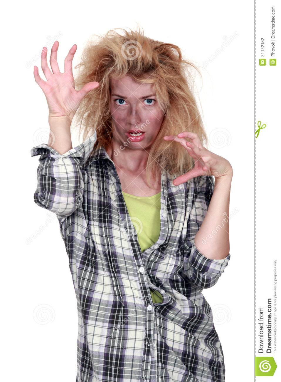 Messed Up Makeup: Zombie Girl Stock Photo. Image Of Catching, Panic, Alive