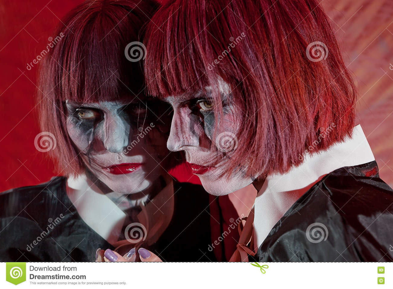 Scary ghost face in dark mirror stock image for Mirror zombie girl