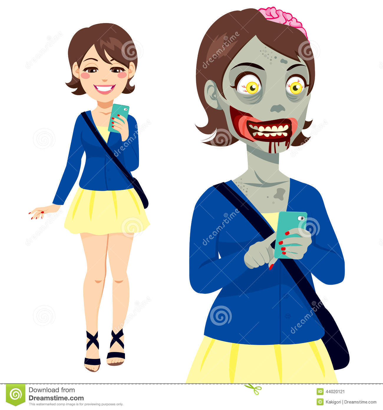 zombie girl smartphone stock vector illustration of happy 44020121