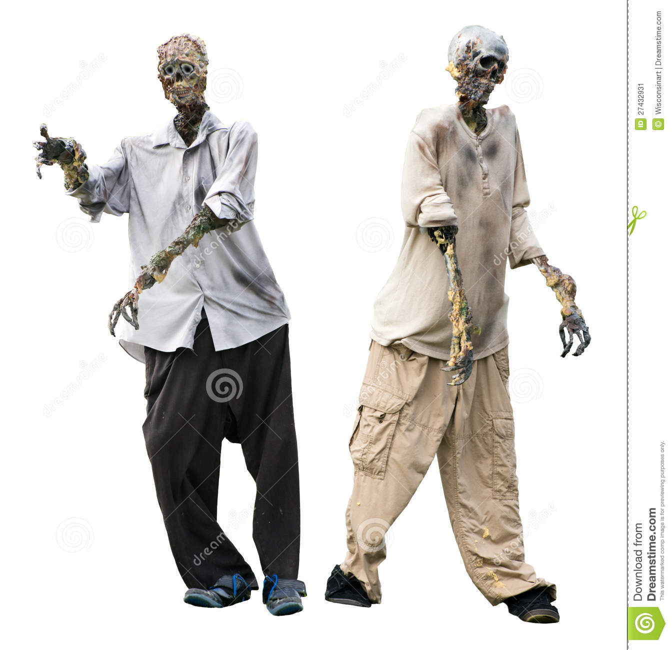 zombie halloween zombies ghouls isolated on white stock image