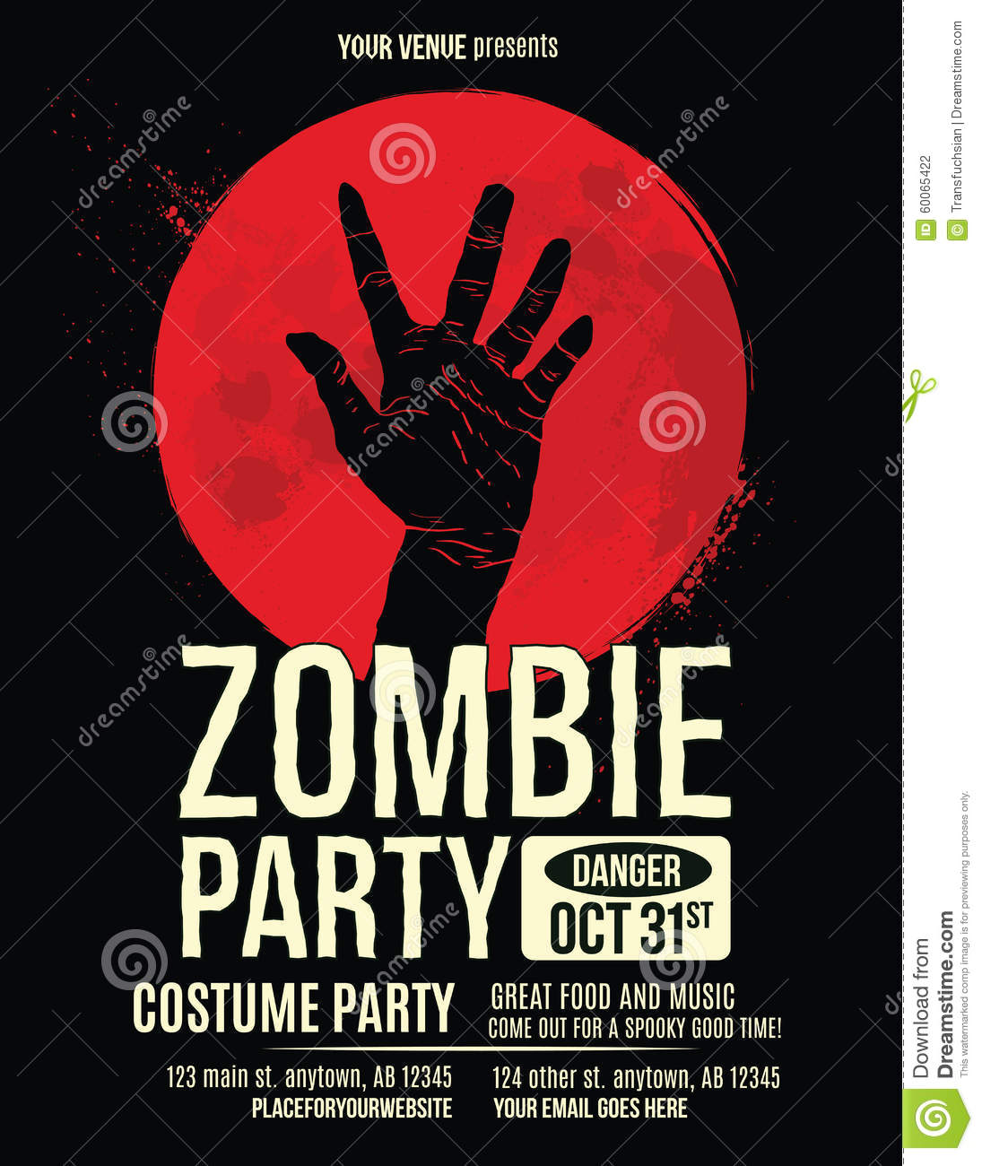 Zombie Hand In Blood Moon Flyer Template Stock Vector - Illustration ...