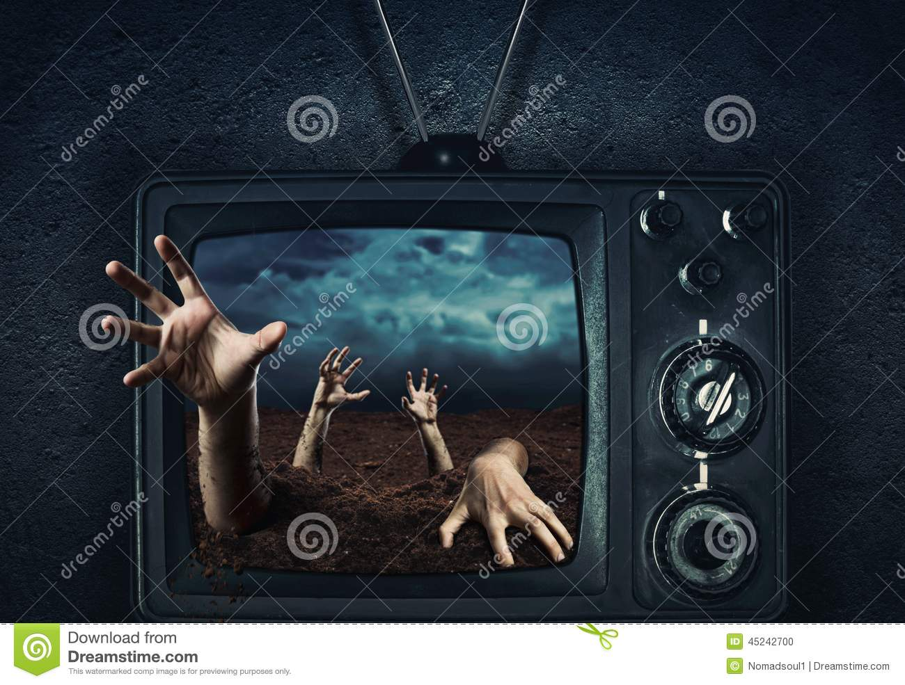 Zombie hand coming out of TV