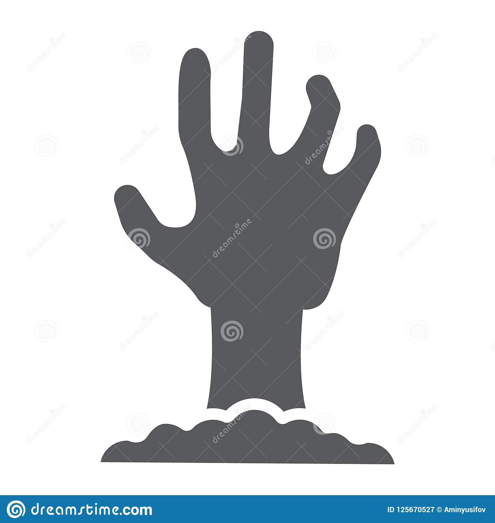 Zombie hand glyph icon, undead and halloween, arm sign, vector graphics, a solid pattern on a white background,