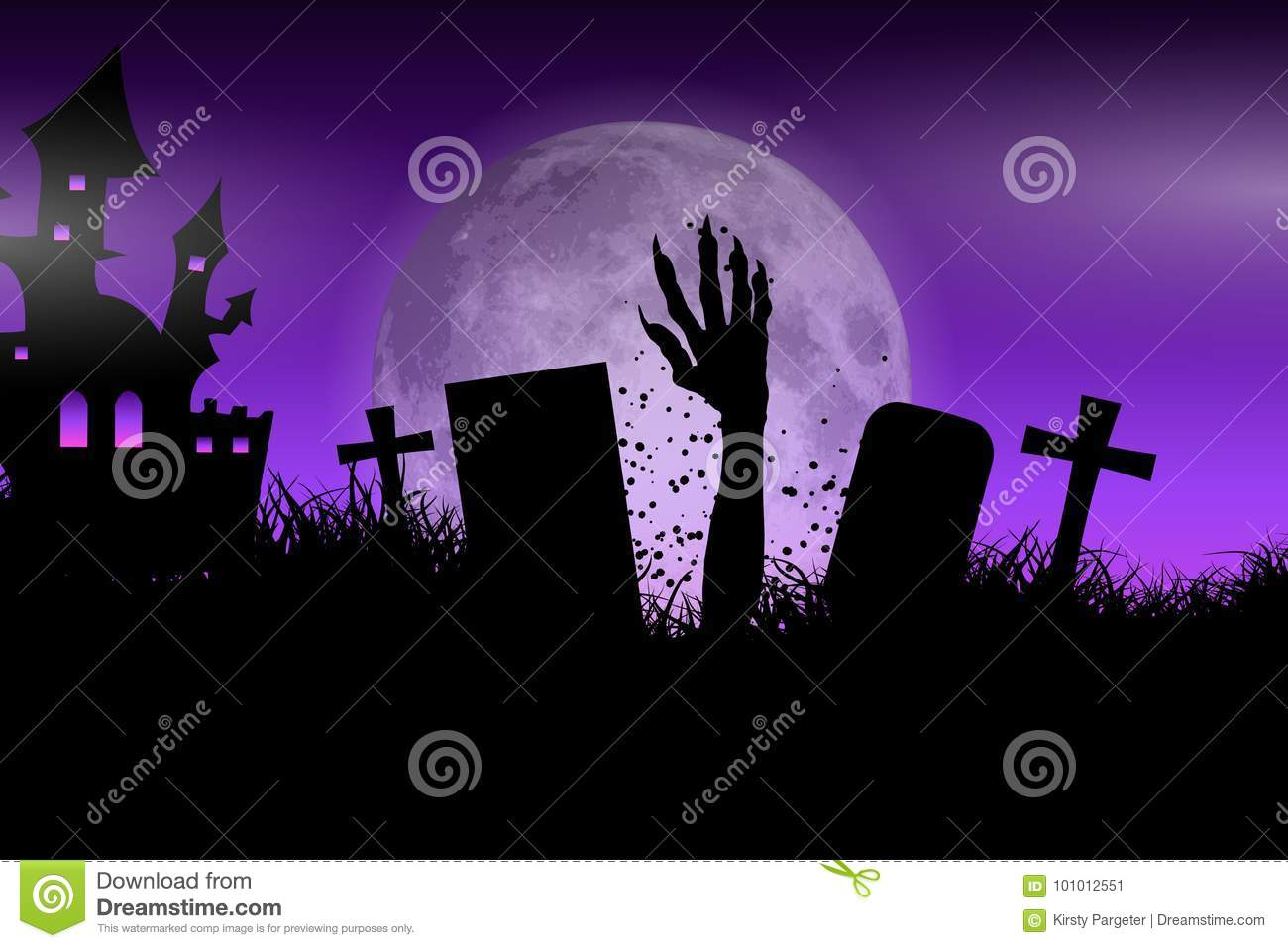 Zombie Hand In Halloween Landscape Stock Vector