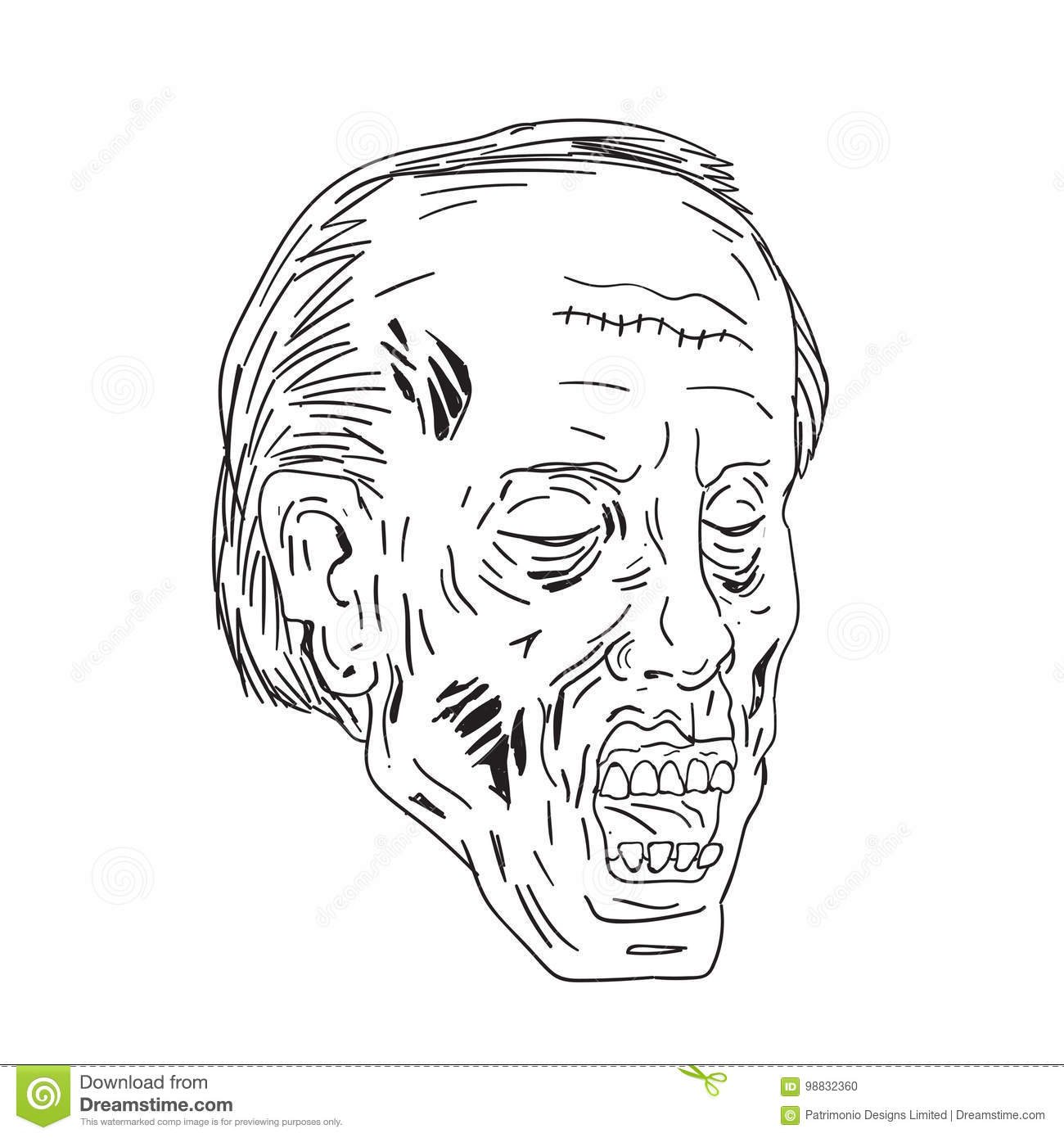zombie head eyes closed drawing stock vector illustration of