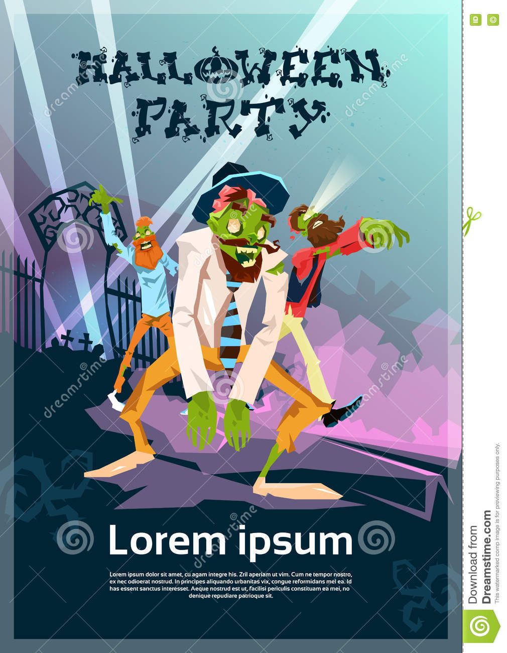 Zombie Hipster Group Happy Halloween Party Invitation Card