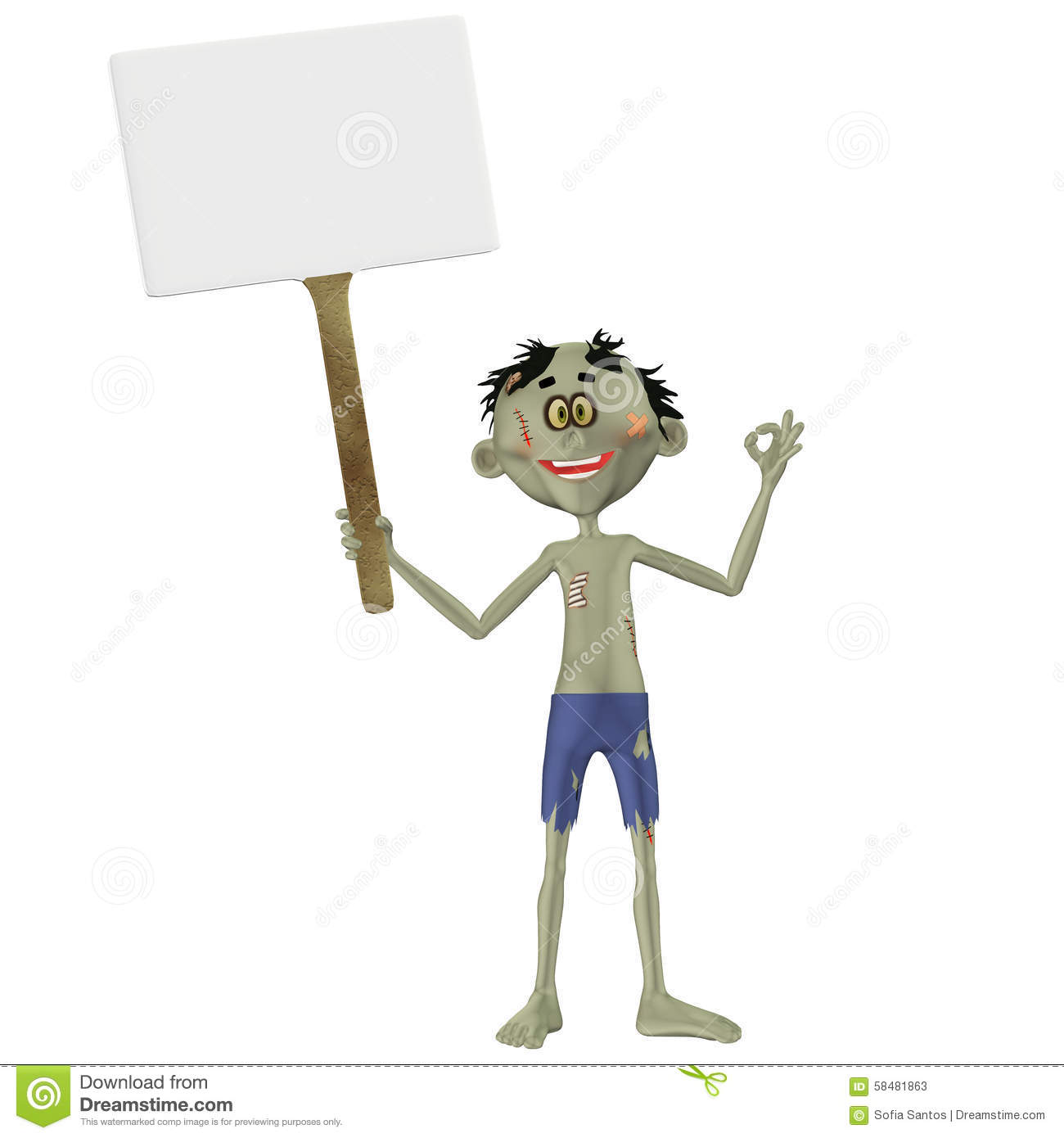 zombie holding sign