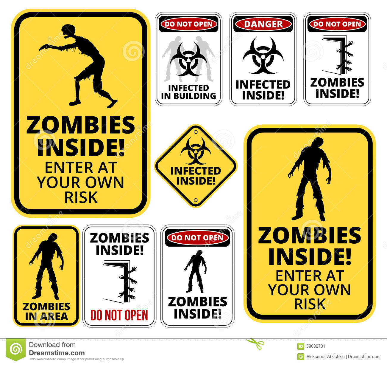 Set of sign Zombie outbrake inside building biohazard quarantine area ...