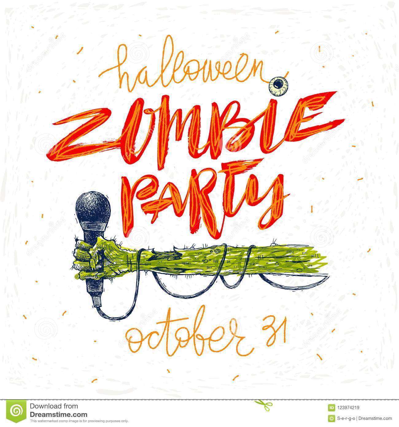 Zombie Party Illustration Halloween Greeting Card Poster