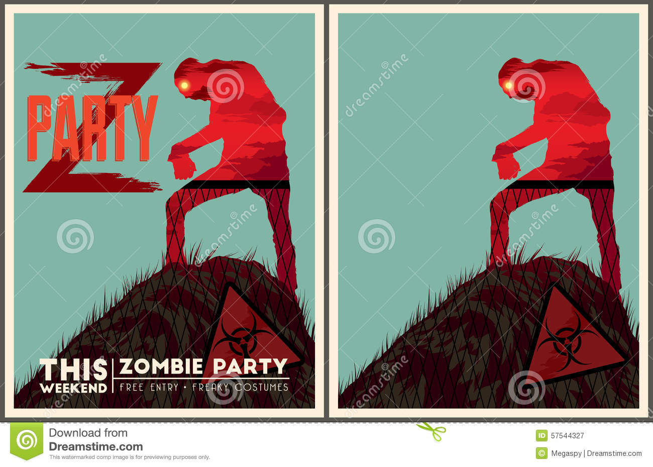 Zombie Party Poster Set Vector Image 57544327 – Zombie Party Invitations Free