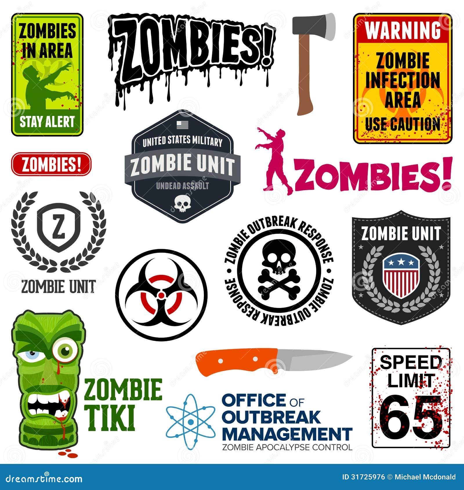 Zombie Apocalypse Essential Signs & Symbols Stock Vector ...