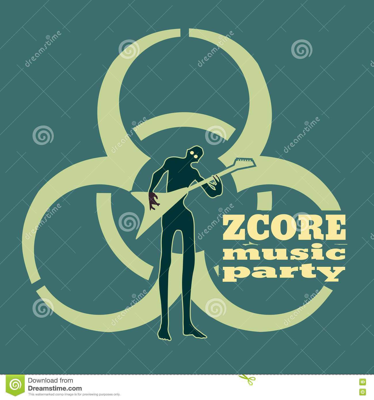 zombie silhouette. biohazard music party stock vector - illustration