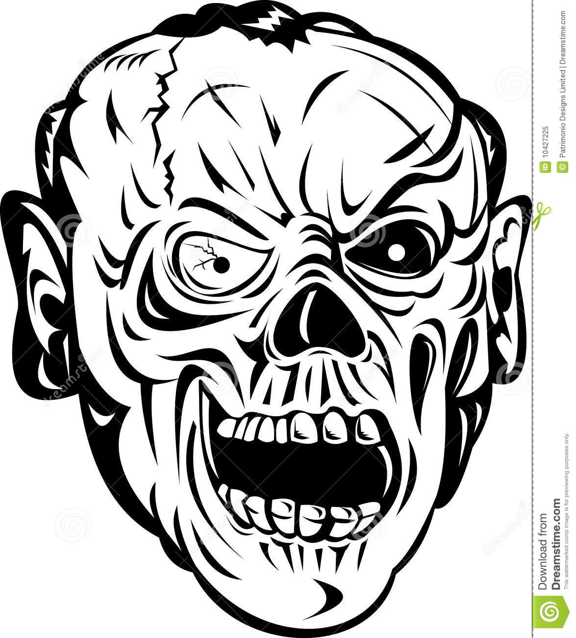 Zombie Face Line Drawing : Zombie skull bone face stock vector illustration of black