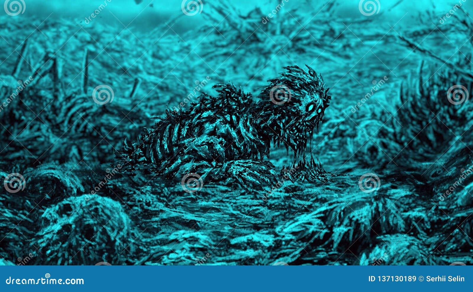 Zombie wacht vom Schmutz auf blauem Hintergrund auf