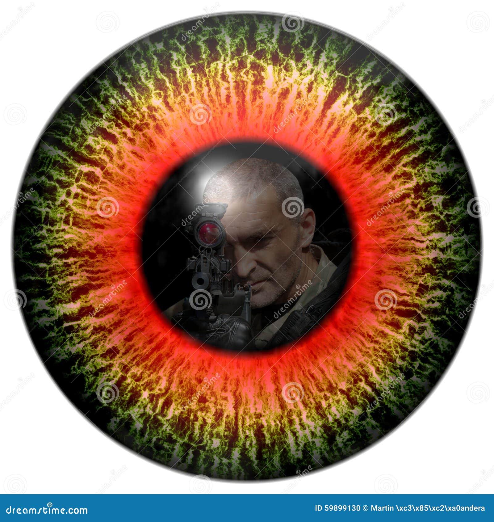 Zombieaugen mit der Reflexion gingen Soldaten voran Mustert Mörder Tödlicher Blickkontakt Tierauge mit Kontrast farbiger Iris
