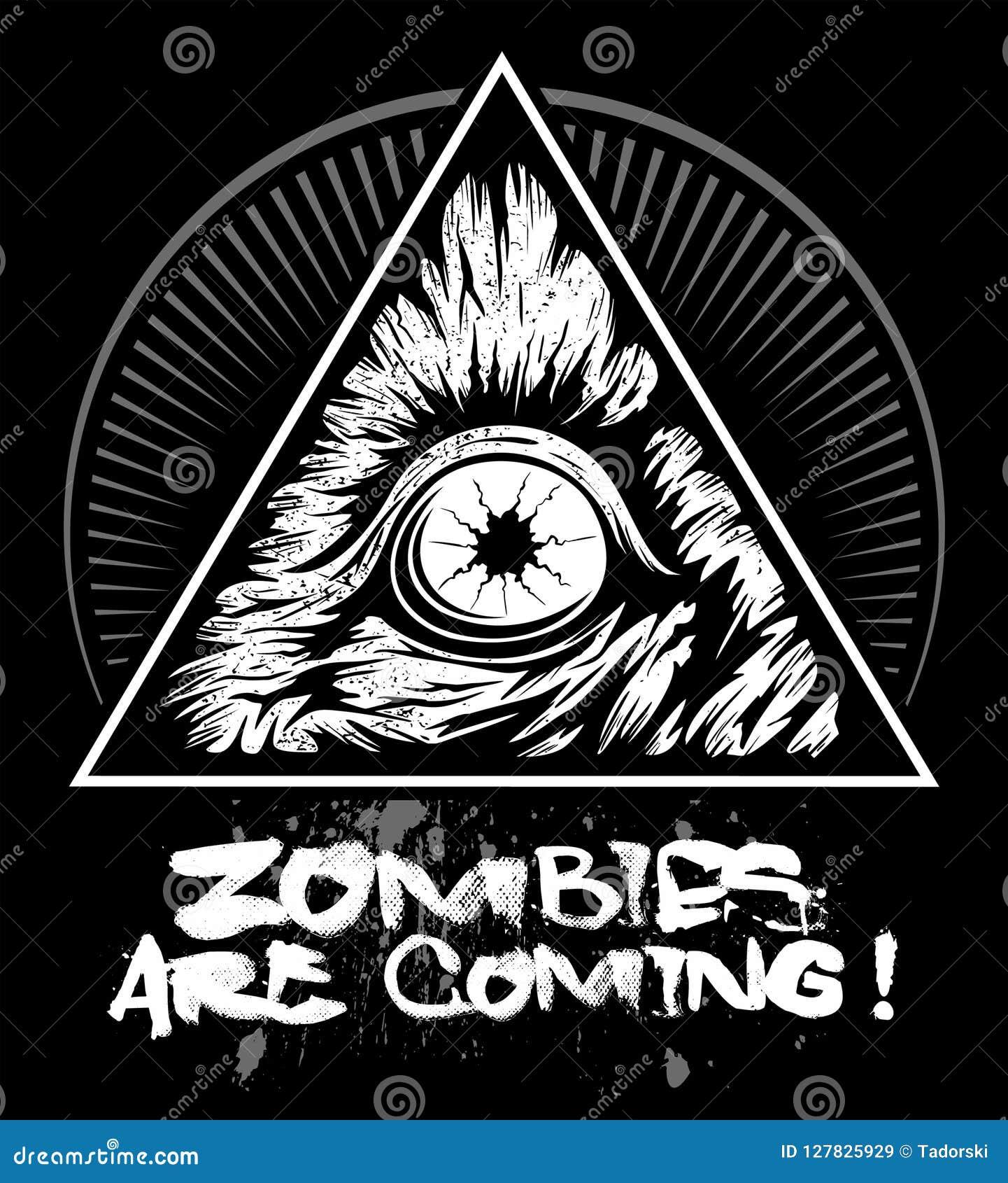 Zombieoog met de driehoek, vectorembleem