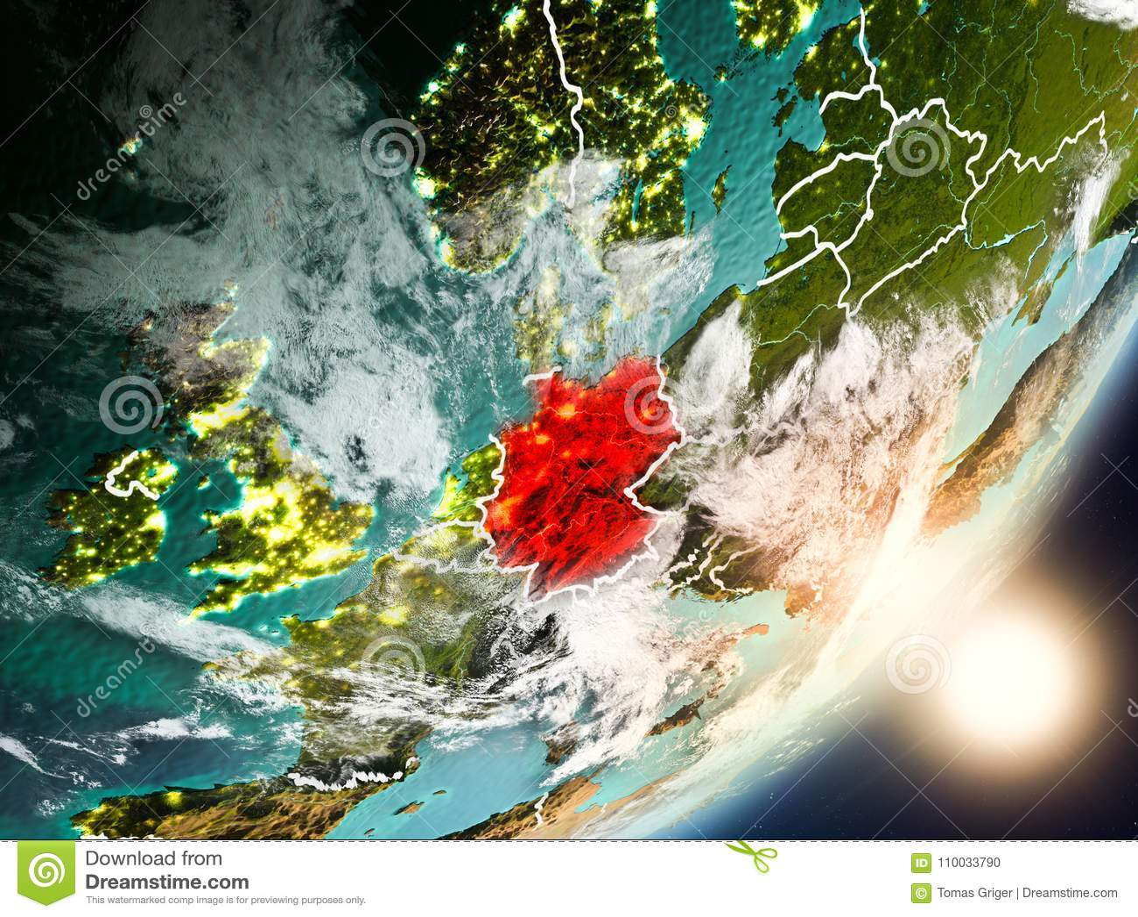Zon die boven Duitsland van ruimte toenemen