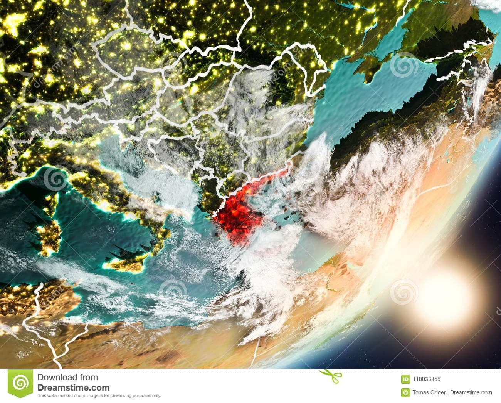 Zon die boven Griekenland van ruimte toenemen