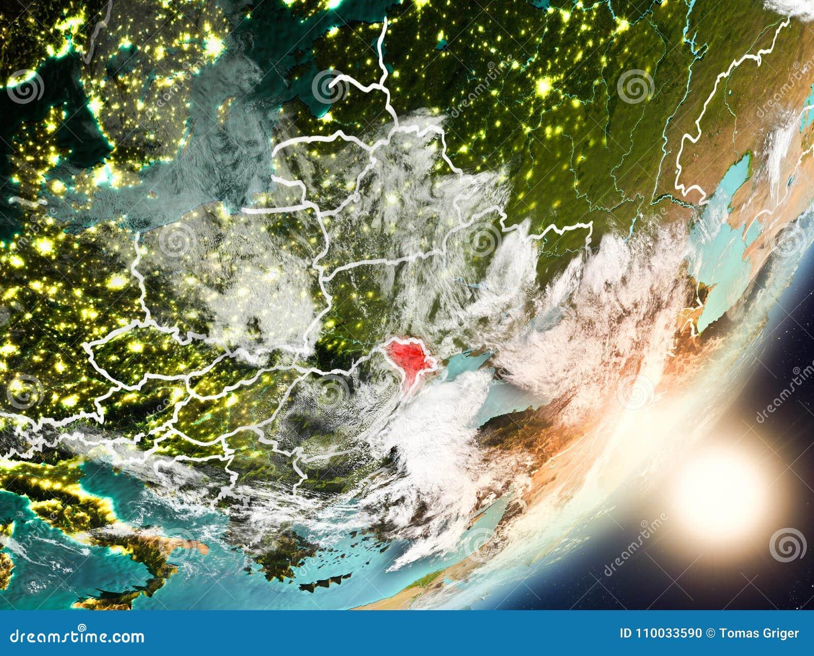 Zon die boven Moldavië van ruimte toenemen