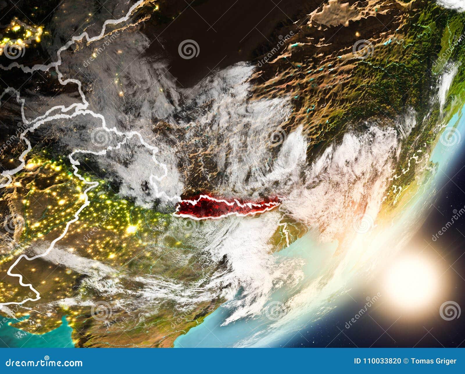 Zon die boven Nepal van ruimte toenemen