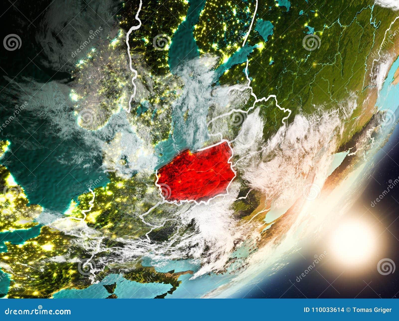 Zon die boven Polen van ruimte toenemen