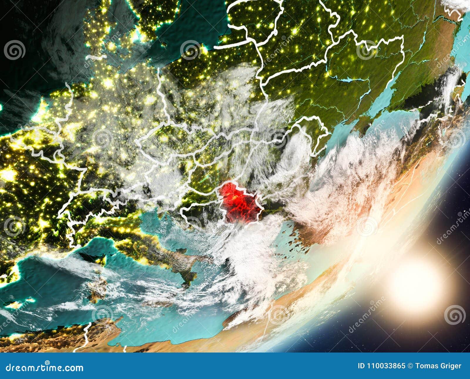 Zon die boven Servië van ruimte toenemen