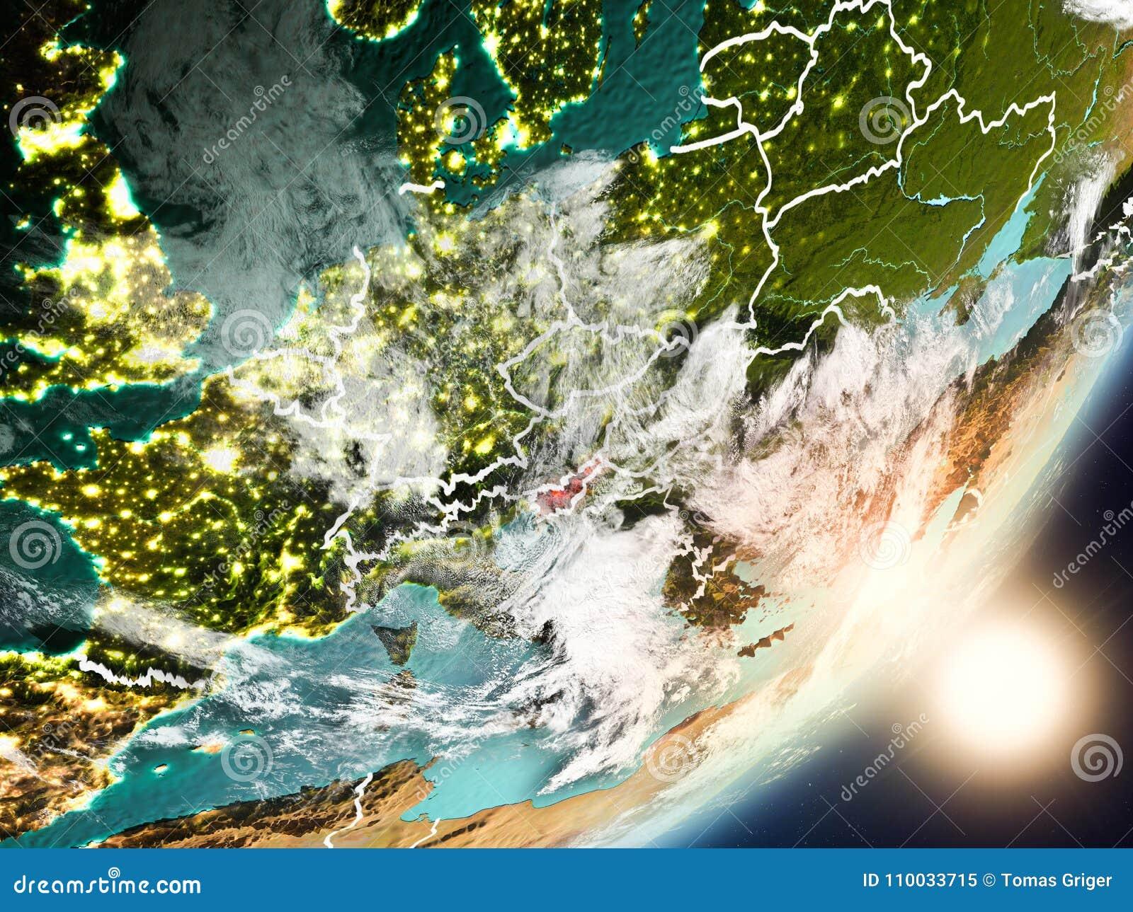 Zon die boven Slovenië van ruimte toenemen