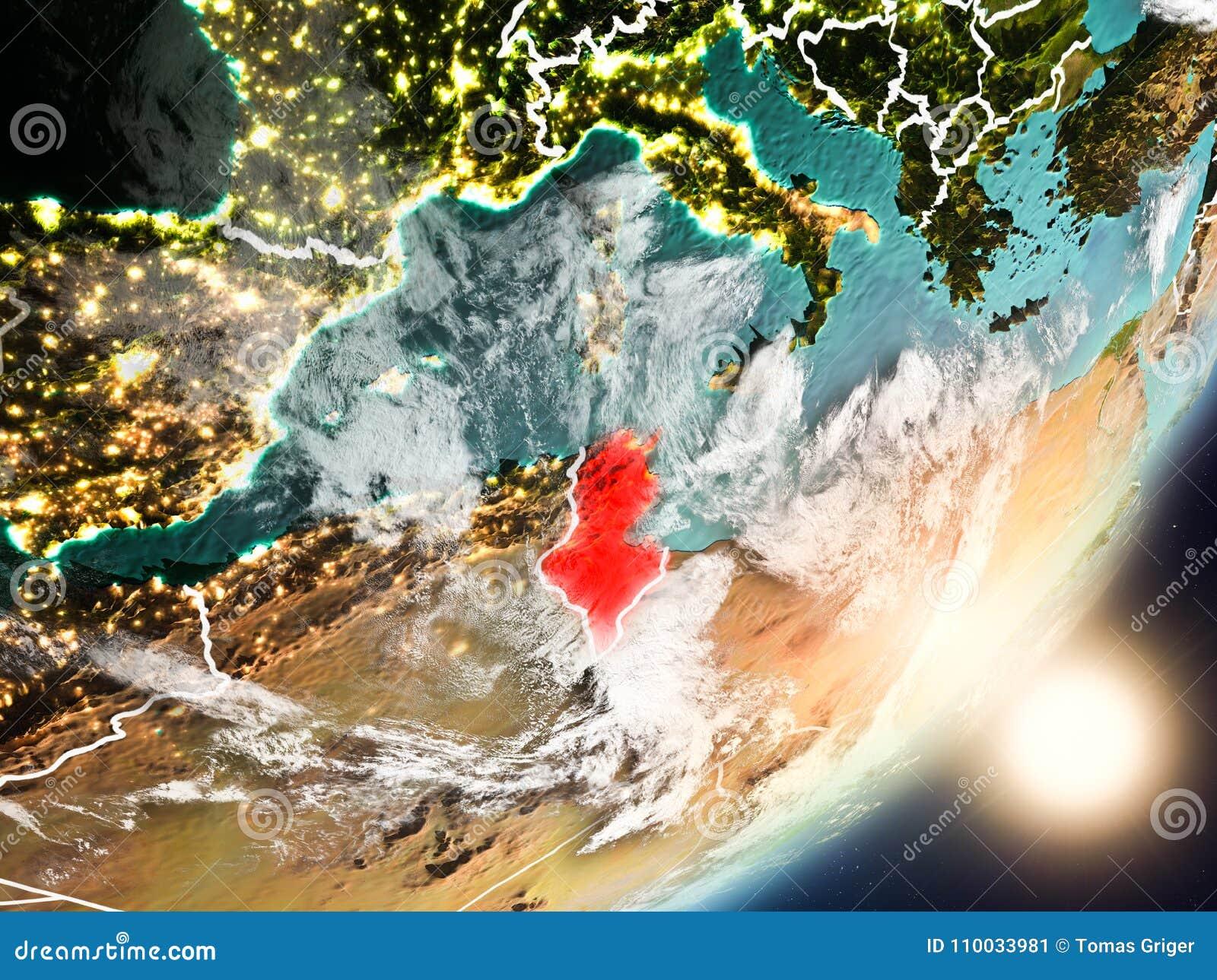 Zon die boven Tunesië van ruimte toenemen