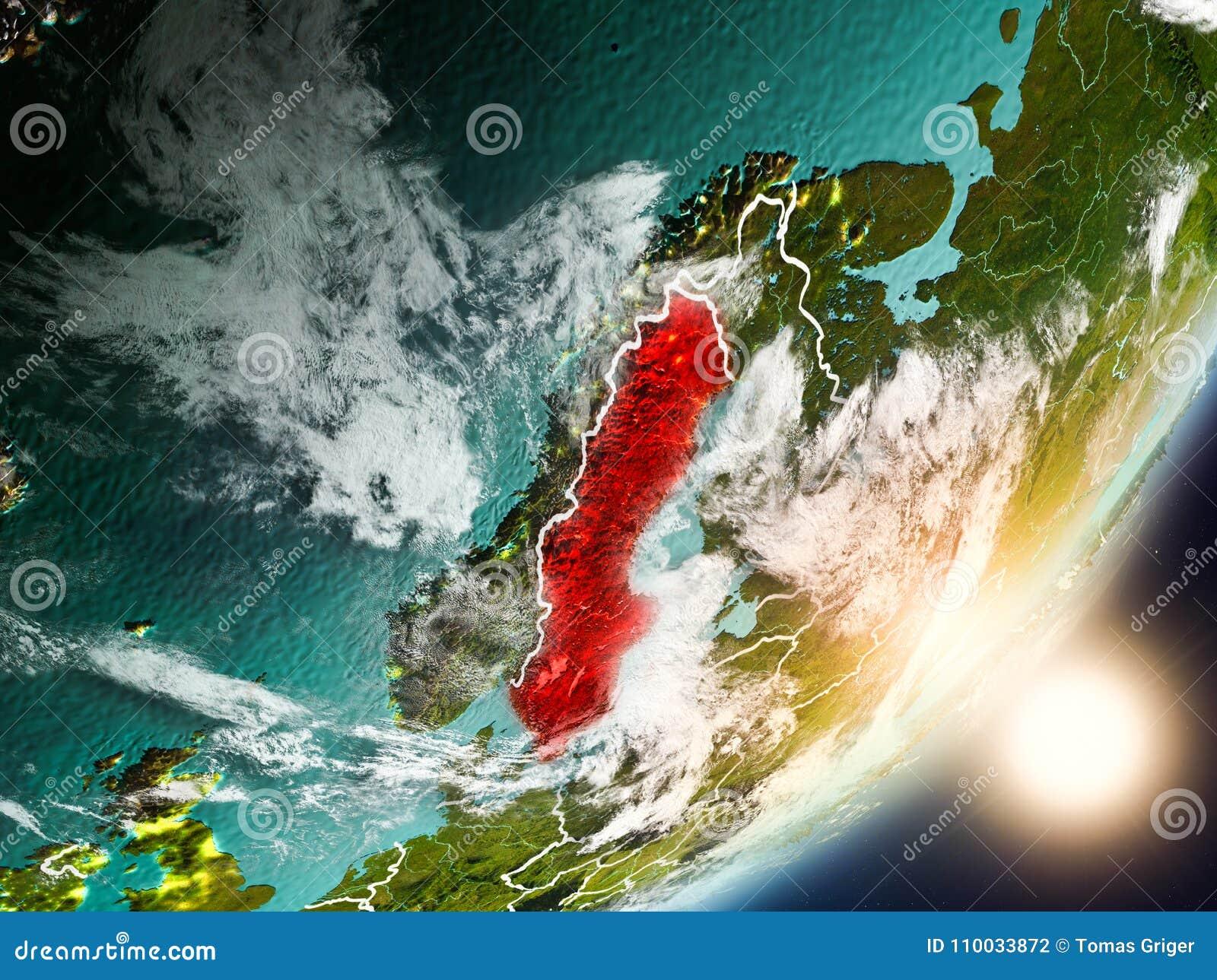 Zon die boven Zweden van ruimte toenemen