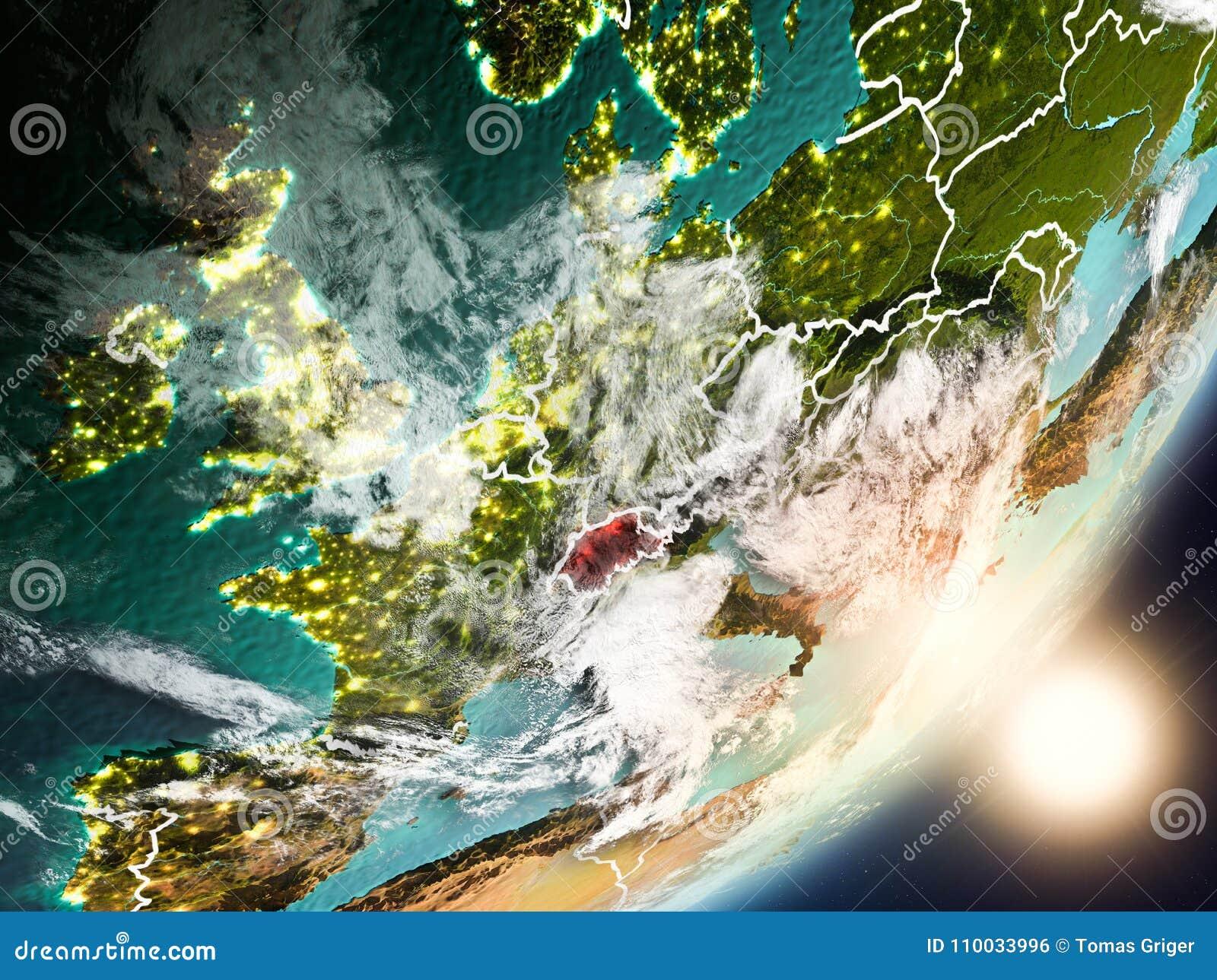Zon die boven Zwitserland van ruimte toenemen