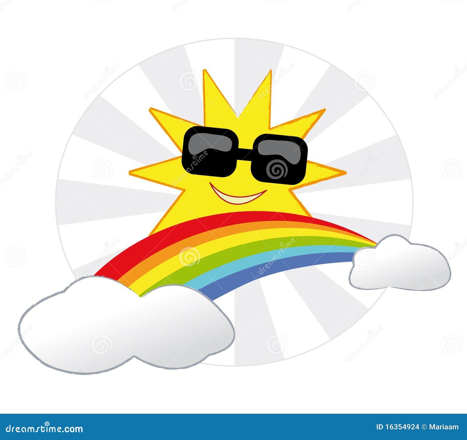 Zon en regenboog