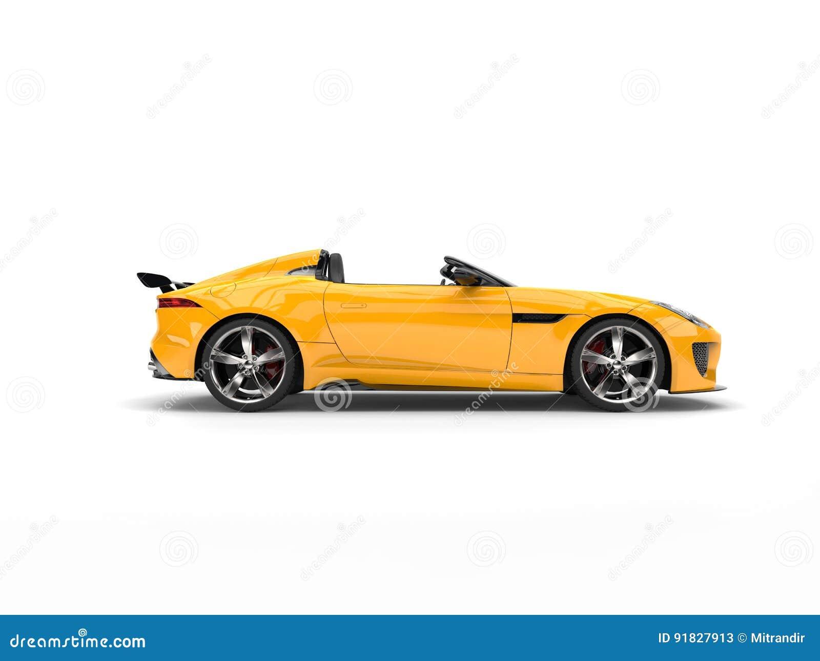 Zon gele convertibele sportwagen - zijaanzicht