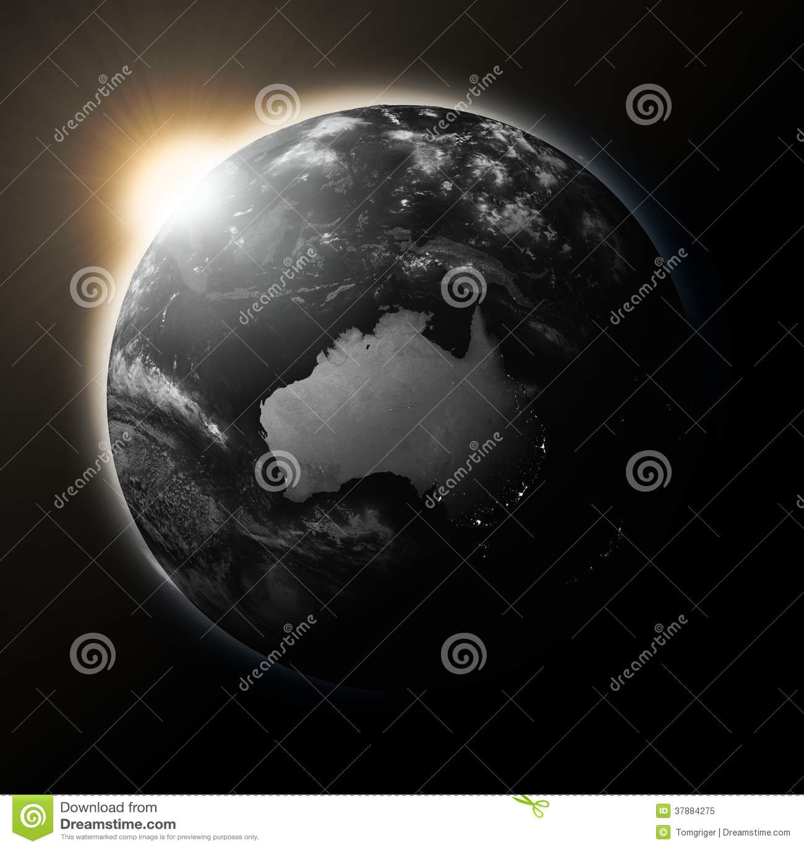 Zon over Australië op donkere aarde