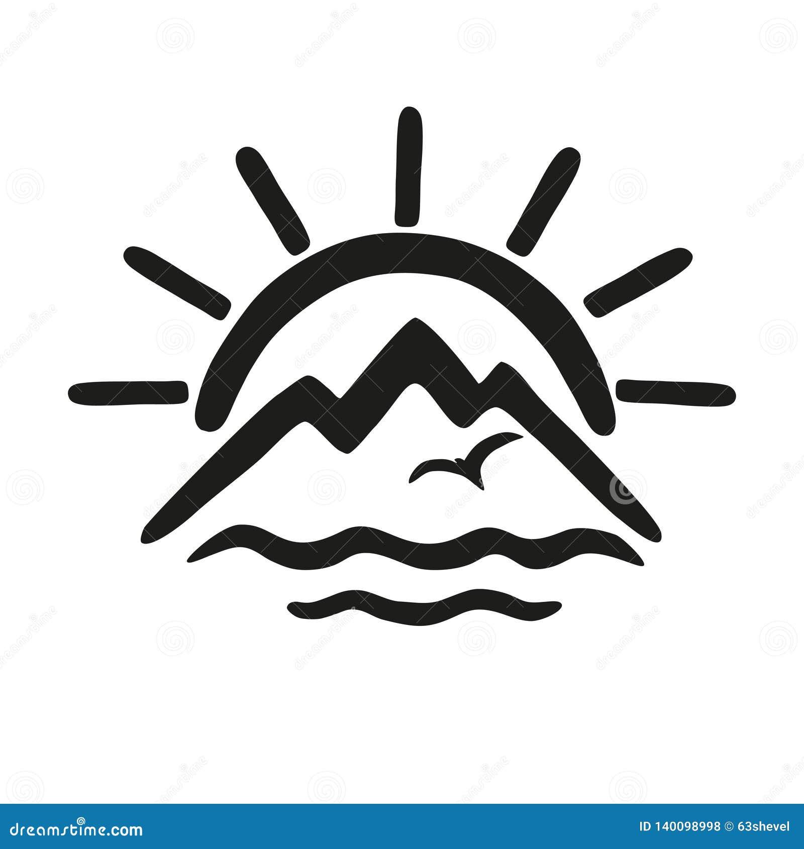 Zon, overzees, bergen Vectorpictogram, embleem voor het thema van reis en toerisme